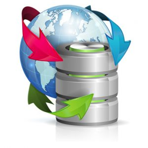 Backup Concept with Database Icon and Earth, vector isolated on white background